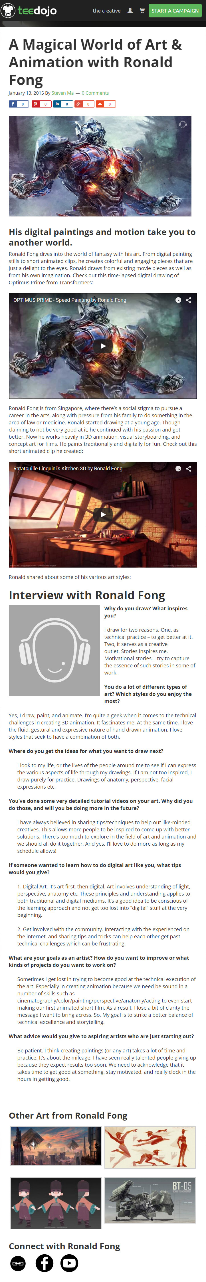 Ronald Fong Animation Singapore Featured on TeeDojo