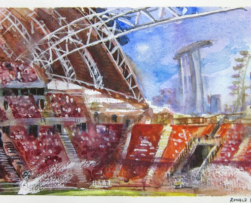 Singapore Sports Hub Watercolor Painting Ronald Fong