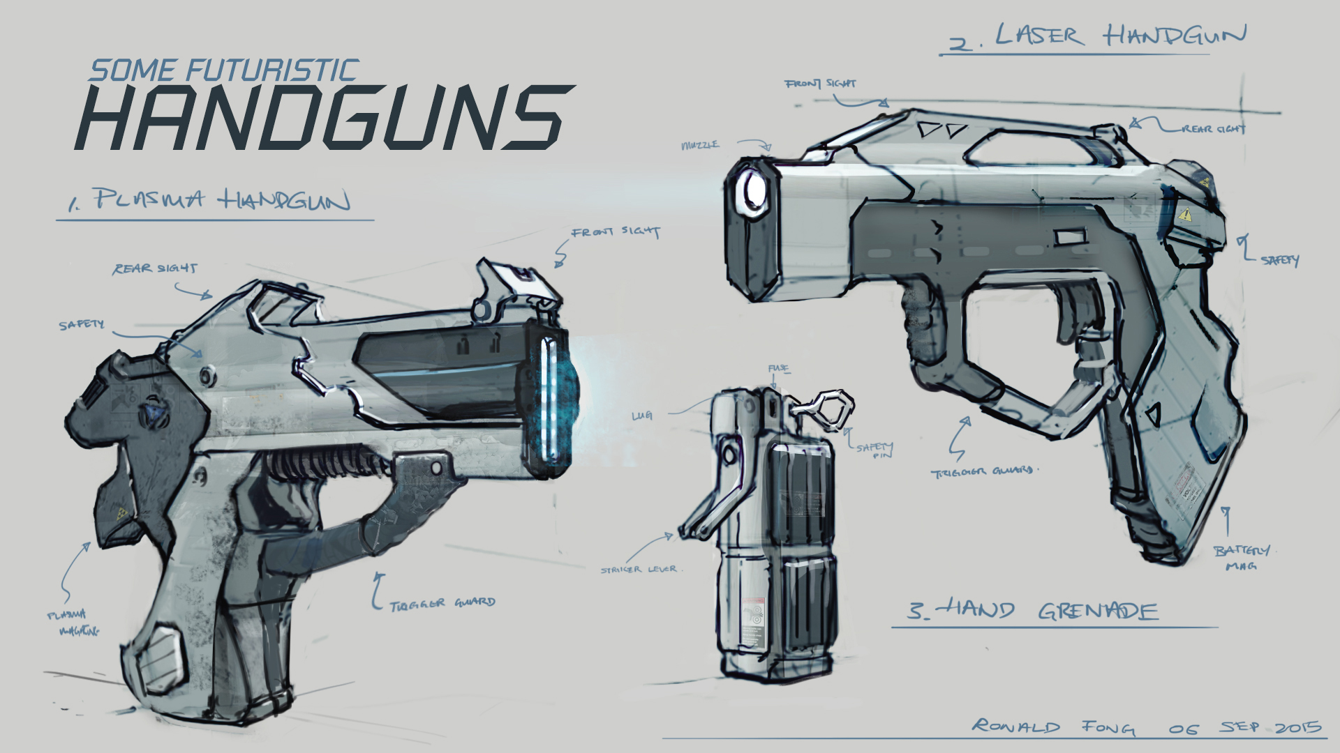 Designed some futuristic handguns and a grenade. The look is pretty ...