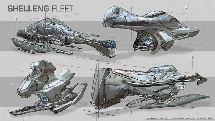 Shelleng Fleet Spaceship Designs by Ronald Fong