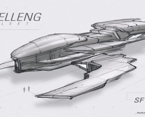 Shelleng Fleet SFY01 Concept Spaceship Design by Ronald Fong