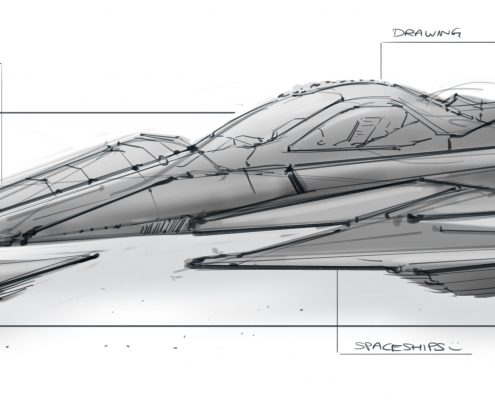 Triangular Concept Spaceship Design by Ronald Fong
